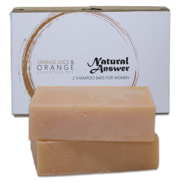 Biologische en Natuurlijke Shampoo Bar voor Vrouwen, Sinaasappel en Etherische Olie van Sinaasappel van Natural Answer | Witte Achtergrond