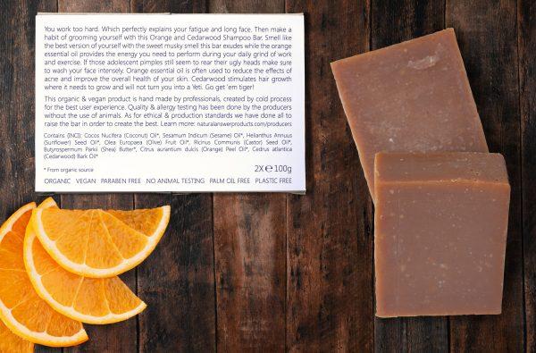 Natuurlijke en Biologische Shampoo Bar voor Mannen, Sinaasappel en Cederhout, achteraanzicht