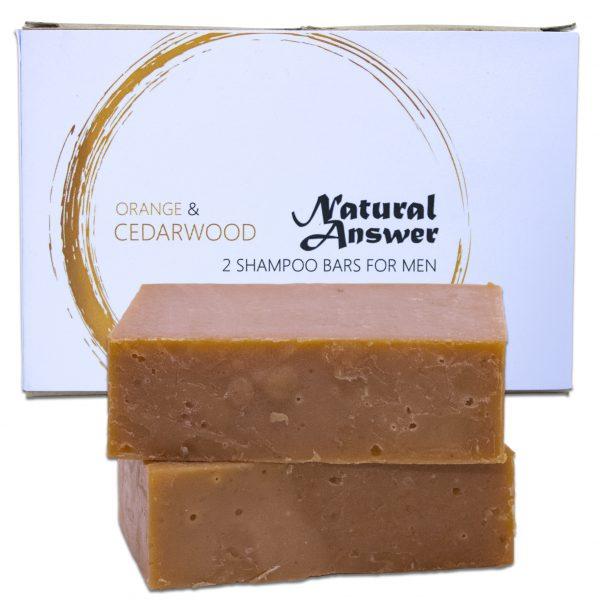 Biologische en Natuurlijke Shampoo Bar voor Mannen - Sinaasappel & Cederhout - Vooraanzicht   Natural Answer