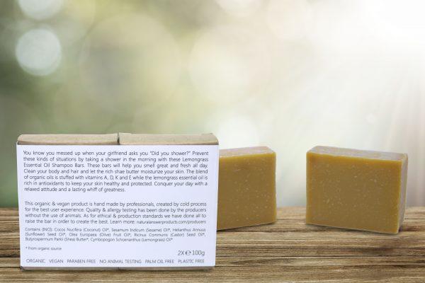 Biologische en Natuurlijke Shampoo Bar voor Mannen - Citroengras