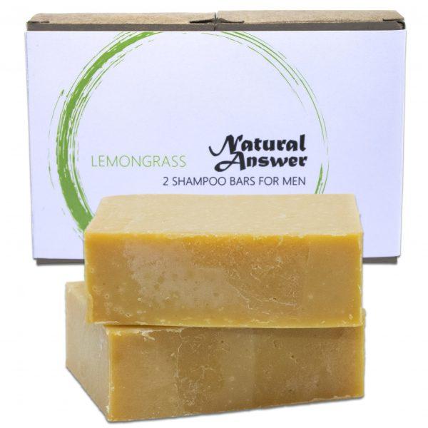 Biologische en Natuurlijke Shampoo Bar voor Mannen - Citroengras van Natural Answer - Vooraanzicht met witte achtergrond