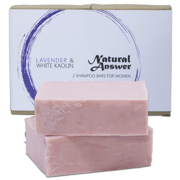 Biologische en Natuurlijke Shampoo Bar voor Vrouwen - Lavendel en Witte Kaolin Klei van Natural Answer- Vooraanzicht witte achtergrond