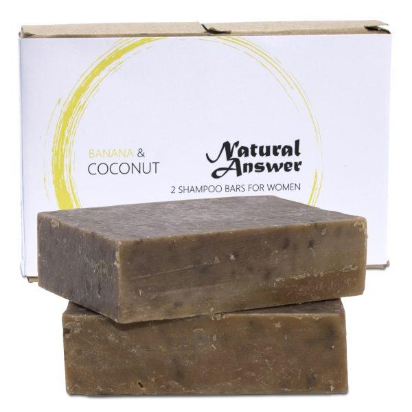 Biologische en Natuurlijke Shampoo Bar voor Vrouwen - Banaan-Koffie en Kokos van Natural Answer   Vooraanzicht witte achtergrond