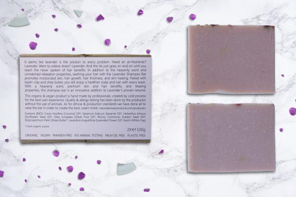 Biologische en Natuurlijke Shampoo Bar voor Vrouwen - Lavender en Witte Kaolin Klei - achteraanzicht